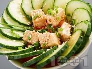 Рецепта Свежо предястие с тофу, краставици и сусам